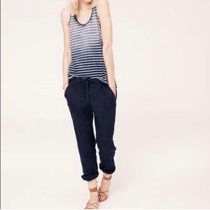 Lou and Grey navy blue linen pants tapered leg